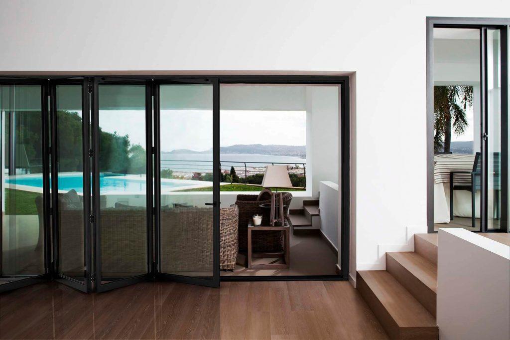 black bifold door